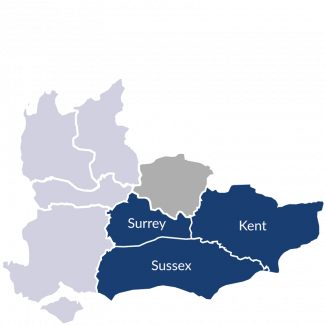 Map of Kent, Surrey, Sussex
